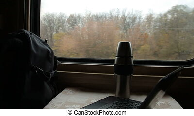 Traveling by passenger train car