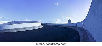 parking deck ramp panorama