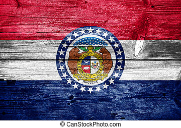 Missouri State Flag painted on old wood plank texture