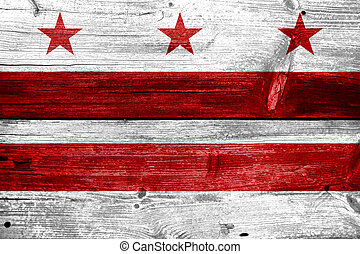 Washington DC Flag painted on old wood plank texture