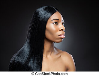 Beautiful black woman with long straight hair - Beautiful...