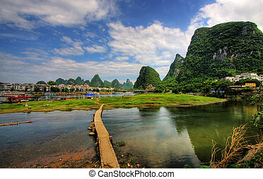 Li river karst mountain landscape in Yangshuo, China
