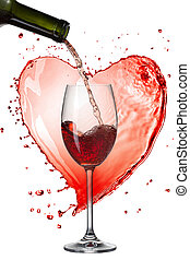Red wine pouring into glass with splash against heart isolated on white
