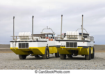 Two Amphibian crafts - Two amphibious vehicles, used to...