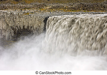 Dettifoss - Close-up of the huge Dettifoss waterfall in...