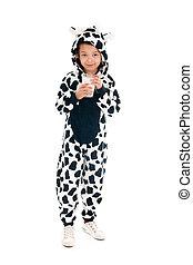 Little boy as cow drinking milk - Little boy dressed as cow...