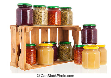 Wooden crate preserved vegetables - Wooden crate full with...