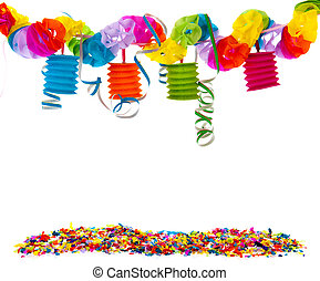 party with confetti and paper chain - paper garland with...
