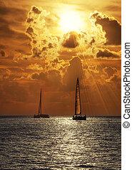 Sailboats at sunset - Sailboats in the sea at sunset