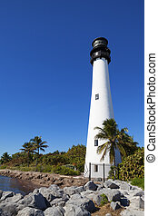 Cape Florida Lighthouse and Lantern in Bill Baggs State Park...