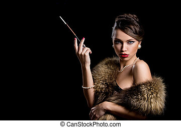 Retro. Gorgeous girl with cigarette - Vintage. Beautiful...