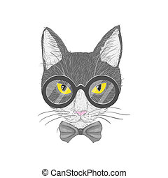 Hipster cat with yellow eyes - Hipster cat with glasses bow...