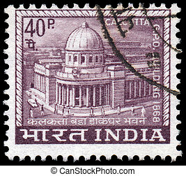 INDIA - CIRCA 1968: A stamp printed in India shows Main Post...