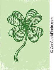 clover on a green paper