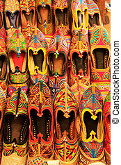 Display of colorful shoes, Mehrangarh Fort, Jodhpur, India -...