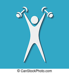 Exercising figure - White exercising figure with dumbbells...