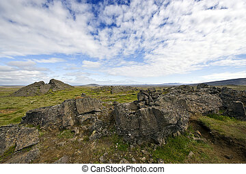 Lava formations - Erratic lava formations across the tundra...