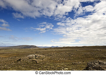 Shield Volcano - The shield volcano near Hveravellir along...