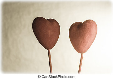 Two Hearts Facing Eachother - Two velvety hearts, facing...