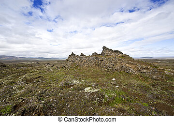 Lava fields - The extensive lava fields with its erratic...