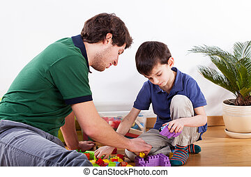 Young father spending time with son