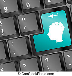 Education concept: Enter button with Head With Gears on computer keyboard, 3d render