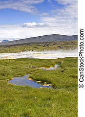 Hveravellir Hot Springs - The hot springs and oasis on the...