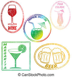 Retro set of drinks (wine,tropical cocktail, pina...