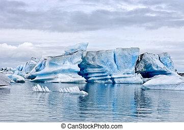 glaciar,  jokulsarlon, lago