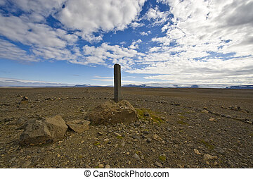 Basalt Memorial - A single Basalt column in the Kjolur...