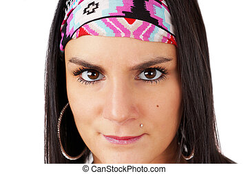 Gypsy woman staring - Intense gaze of gypsy young woman