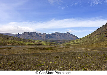 Volcanic Mountain Ridge - The volcanic mountain ridge in the...