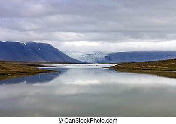 Glacier Lake - The lake and volcanic landscape around the...