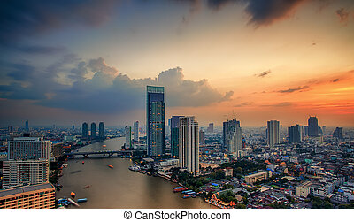 Bangkok City at sunset time, Hotel and resident area in the...