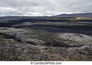 Lava Streams - The black lava streams, resulting from the...