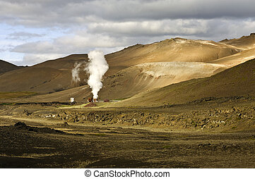 Krafla Geothermal Power plant - Part of the 60MW geothermal...