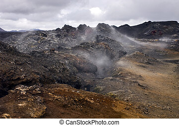 Active Volcanic Fissure - An active volcanic fissure in the...