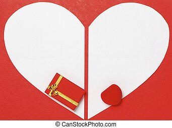 Red Valentines Day background with heart and gift box -...