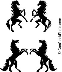 Silhouettes of pairs of prancing horses - Silhouettes of two...