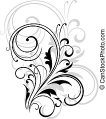 Simple black and white swirling floral element with a repeat...