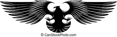 Black heraldic eagle isolated on background