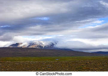 Tundra - A layered Icelandic tundra landscape, with clouds...