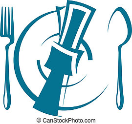 Dinnertime table setting - Cartoon sketch of a stylized...