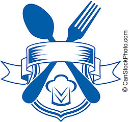 Restaurant or caterers emblem - Vector cartoon illustration...