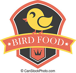 Bird food emblem with a shield containing a cute little...