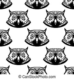 Seamless pattern of wise owl heads - Black and white...
