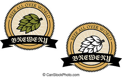 Two circular brewery labels with a banner with text and a...