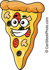 Cute slice of cartoon pizza with a happy smile and a topping...