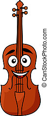 Happy wooden violin with a big smile - Vector cartoon...
