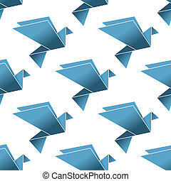 Seamless pattern of origami flying pigeons and doves